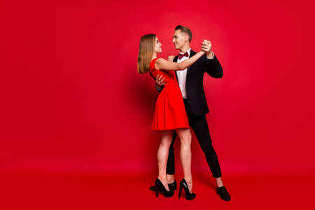 Photo for Full length body size portrait of two nice sweet lovely attractive couple - Royalty Free Image
