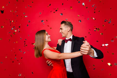 Photo for Portrait of two nice tender lovely attractive gorgeous elegant couple - Royalty Free Image