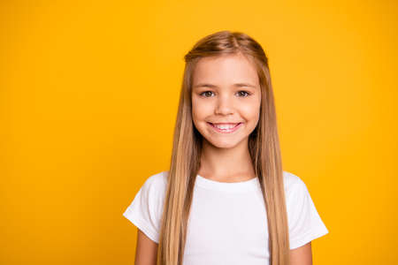 Photo pour Close-up portrait of her she nice cute adorable attractive lovely pretty winsome sweet cheerful cheery straight-haired girl isolated over bright vivid shine yellow background - image libre de droit
