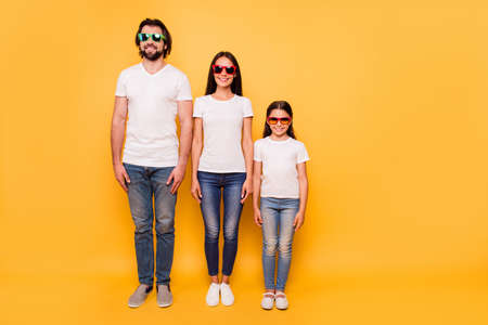 Photo for Full length body size portrait of nice-looking attractive charming cheerful people wearing colorful 3d modern eyewear hierarchy order isolated over shine vivid pastel yellow background - Royalty Free Image