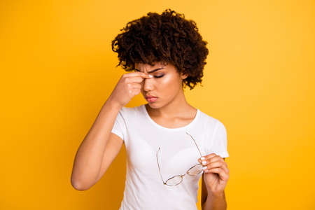 Foto de Portrait of her she nice attractive beautiful sad frustrated depressed tired wavy-haired lady touching nose having migraine attack isolated over bright vivid shine background - Imagen libre de derechos