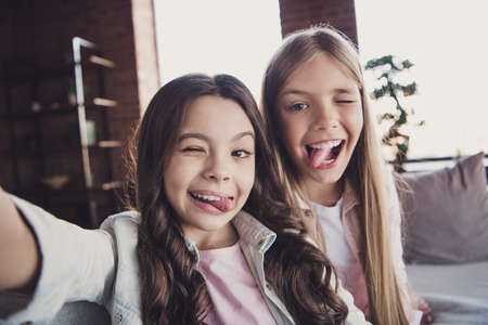 Photo pour Self-portrait of two nice lovely attractive charming cheerful cheery crazy carefree cheeky naughty girls wearing casual showing tongue out having fun day good morning in house loft industrial interior - image libre de droit