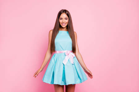 Photo pour Portrait of her she nice-looking attractive stunning winsome elegant fascinating cheerful straight-haired lady mint green dress isolated over pink pastel background - image libre de droit