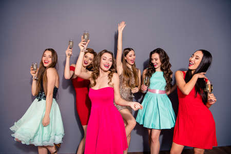 Photo for Portrait of  cheerful  ladies isolated  background - Royalty Free Image