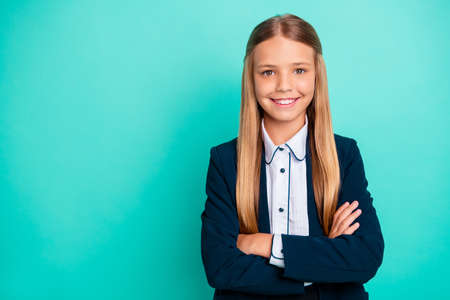 Foto de Close up photo beautiful amazing she her little lady pretty hairdress like studying school weekend vacation mood wear formalwear shirt blazer school form isolated bright teal turquoise background - Imagen libre de derechos