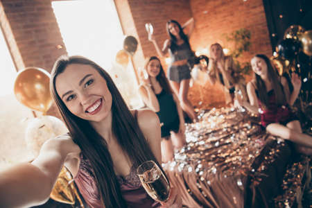 Photo for Self-portrait of nice chic charming cute sweet winsome feminine attractive lovely cheerful glad group chill out festive celebratory in loft industrial brick style interior room house indoors - Royalty Free Image