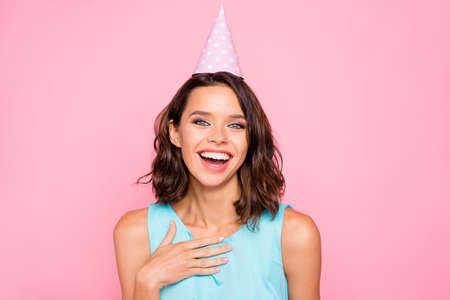 Photo for Close up photo amazing beautiful she her lady attractive pretty appearance birthday cap head hooray listen humorous guests story wear shiny colorful blue dress isolated pink bright vivid background - Royalty Free Image