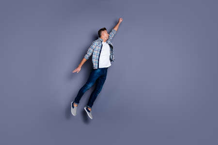 Photo pour Fulle length body size profile side view photo of dynamic focused man have power brave wear fashionable denim clothing isolated grey background - image libre de droit