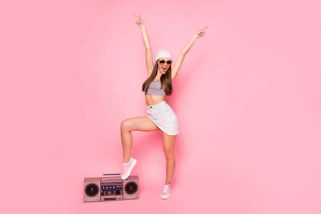 Photo for Full length photo of funky youth raising hands screaming wearing eyewear eyeglasses isolated over pink background - Royalty Free Image