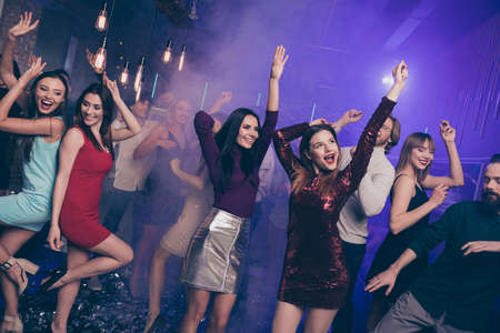 Photo for Portrait of attractive pretty sweet high-school person raising hands arms people occasion excited laugh laughter formalwear formal wear dress indoors dance floor - Royalty Free Image