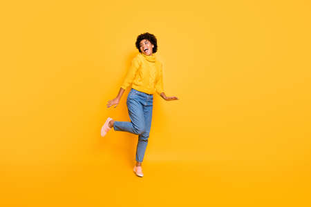 Photo for Full length body size photo of cheerful positive sweet cute nice girlfriend, resting relaxing dancing running for sales wearing sweater jeans denim isolated over vibrant color background - Royalty Free Image