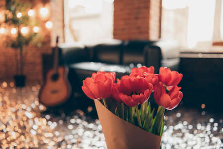 Photo pour Cropped close-up view of nice lovely beautiful red flowers sweet atmosphere empty room to have fun meeting gathering luxury luxurious spring time club resort hotel - image libre de droit