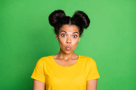 Photo for Closeup photo of amazing dark skin lady cant say word make ducky lips facial expression very shy person wear yellow t-shirt isolated green background - Royalty Free Image