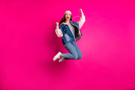 Foto de Full length body size view of her she nice attractive cool cheerful cheery girl jumping celebrating having fun time accomplishment isolated on bright vivid shine vibrant pink fuchsia color background - Imagen libre de derechos