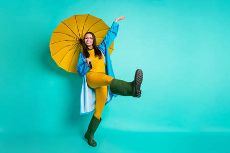 Foto de Full body profile photo of attractive lady good mood rain stopped - Imagen libre de derechos