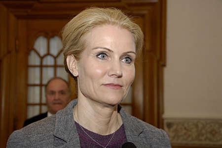 COPENHAGEN /DENMARK- Ms.Helle Thorning-Schmidt prime minister talking to media at christiansborg after question time in danish parliament regarding Child allowance, prime minister is under pressure from oppostion parties and her own lord mayor to discuss