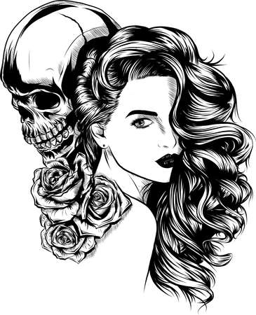 Illustration pour Girl with skeleton make up hand drawn vector sketch. Santa muerte woman witch portrait stock illustration Day of the dead face art - image libre de droit
