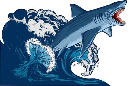 Ilustración de Shark jump with open mouth in the sea. Shark isolation on a white background. Flat vector illustration - Imagen libre de derechos