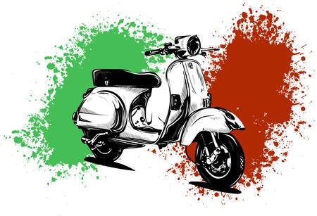 Ilustración de Vector illustration of an Italian scooter with flag - Imagen libre de derechos