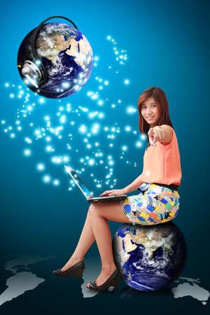 Lady on globe and communication world