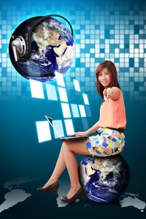 communication world and woman on globe