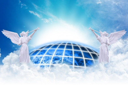 Photo for Angels heaven and earth background - Royalty Free Image