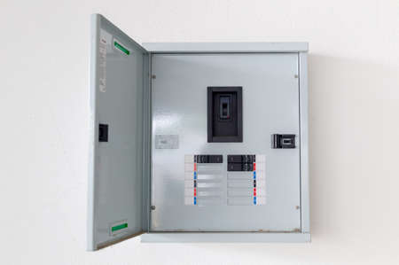 Foto de electric circuit cabinet on the wall - Imagen libre de derechos