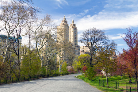 Foto de NEW YORK CITY - Empty trail winds through the colorful spring trees in Central Park - Imagen libre de derechos