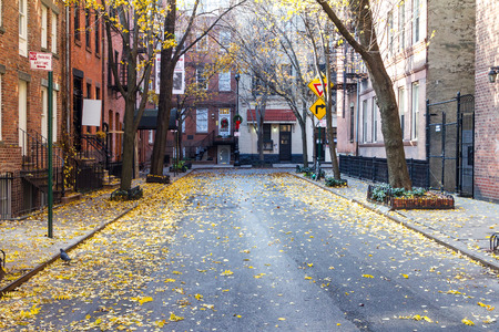 Photo for Quiet Empty Commerce Street in the Historic Greenwich Village Neighborhood of Manhattan, New York City - Royalty Free Image