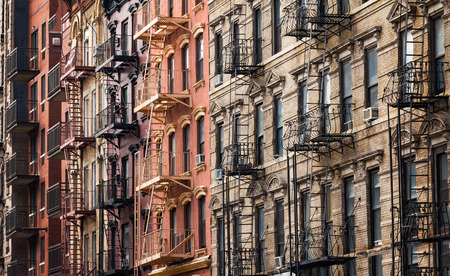 Photo for Buildings along 3rd Street near Tompkins Square Park in the East Village of Manhattan, New York City - Royalty Free Image