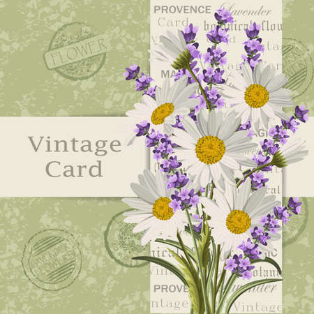 Illustration pour Vintage card with flowers. - image libre de droit