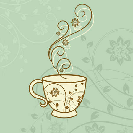 A cup of tea with floral design elements. Vector illustration