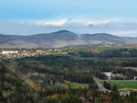 Photo pour Aerial view of Lake Placid, New York in The Adirondack Mountains - image libre de droit