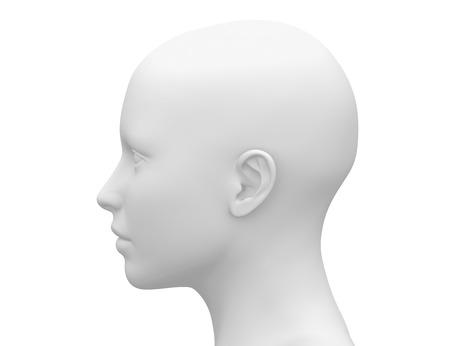Photo pour Blank White Female Head - Side view - image libre de droit
