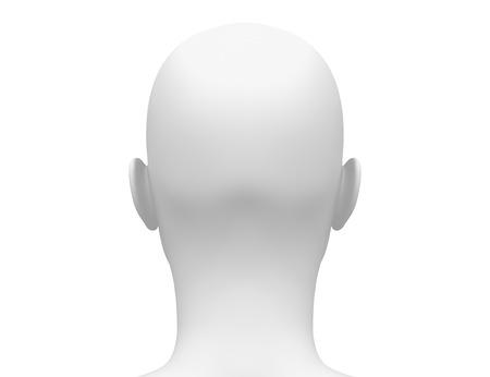 Photo pour Blank White Female Head - Back view - image libre de droit