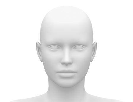Photo pour Blank White Female Head - Front view - image libre de droit