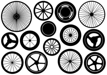 Illustration pour Set of different wheels isolated on white - image libre de droit