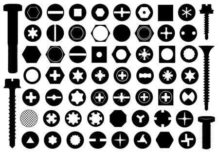 Illustration pour Screw heads set isolated on white - image libre de droit
