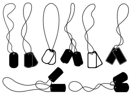 Ilustración de Set of different dog tags isolated on white - Imagen libre de derechos