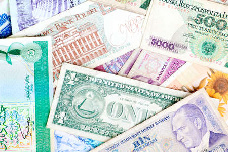 Different banknotes, money background