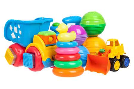 Foto de baby toys collection isolated on white - Imagen libre de derechos
