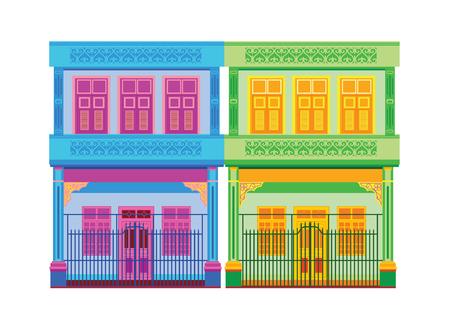 Ilustración de Colorful Old Town vector illustration. - Imagen libre de derechos