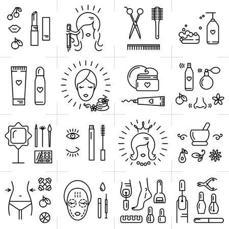 Foto de Modern icons set of cosmetics, beauty, spa and symbols collection made in modern linear vector style. Perfect design element for the cosmetics shop, a hairdressing salon, cosmetology center - Imagen libre de derechos
