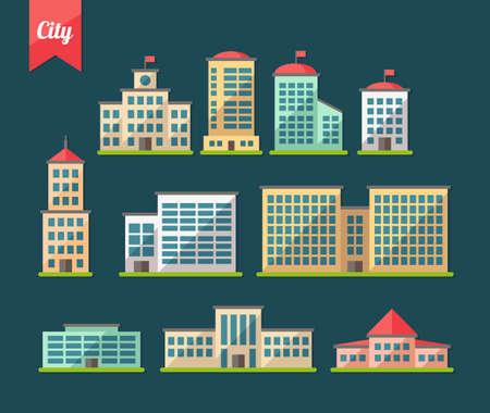 Foto de Set of vector flat design buildings icons - Imagen libre de derechos