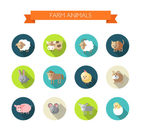 Set of flat design icons with farm animals