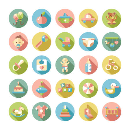 Photo for Set of flat design pastel cute baby vector icons - Royalty Free Image