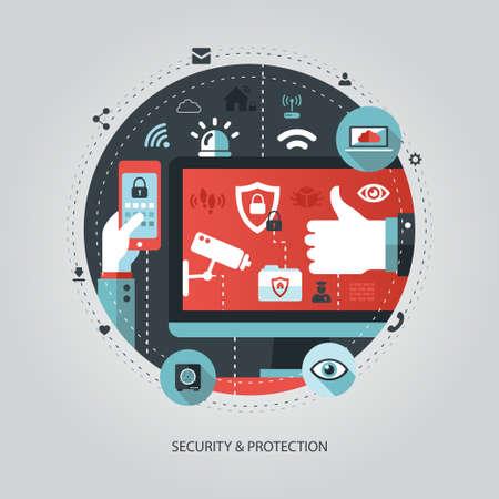 Illustration pour Illustration of vector flat design business illustration with security composition - image libre de droit