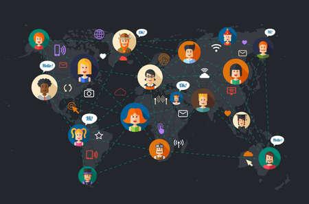Ilustración de Modern vector flat design illustration of people social network community - Imagen libre de derechos
