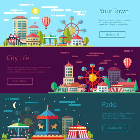 Illustration pour Modern vector flat design conceptual city illustration with carousels - image libre de droit