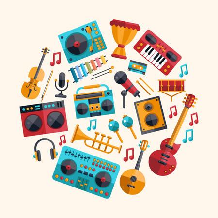 Illustration pour Set of vector modern flat design musical instruments and music tools icons - image libre de droit